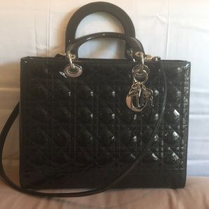 Christian Dior black patent quilted handbag